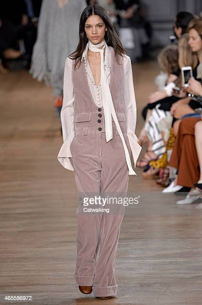 A model walks the runway at the Chloe Autumn Winter 2015 fashion show during Paris Fashion Week on March 8 2015 in Paris France