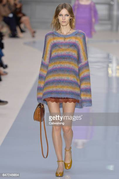 A model walks the runway at the Chloe Autumn Winter 2017 fashion show during Paris Fashion Week on March 2 2017 in Paris France
