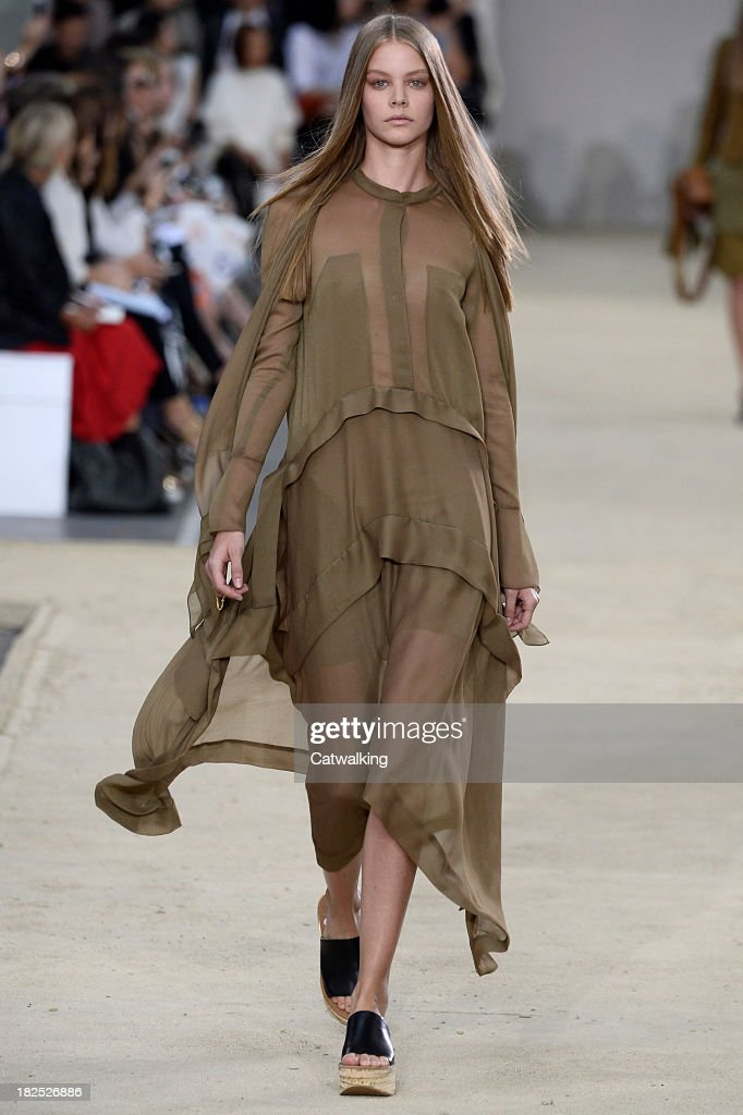 A model walks the runway at the Chloe Spring Summer 2014 fashion show during Paris Fashion Week on September 29, 2013 in Paris, France.