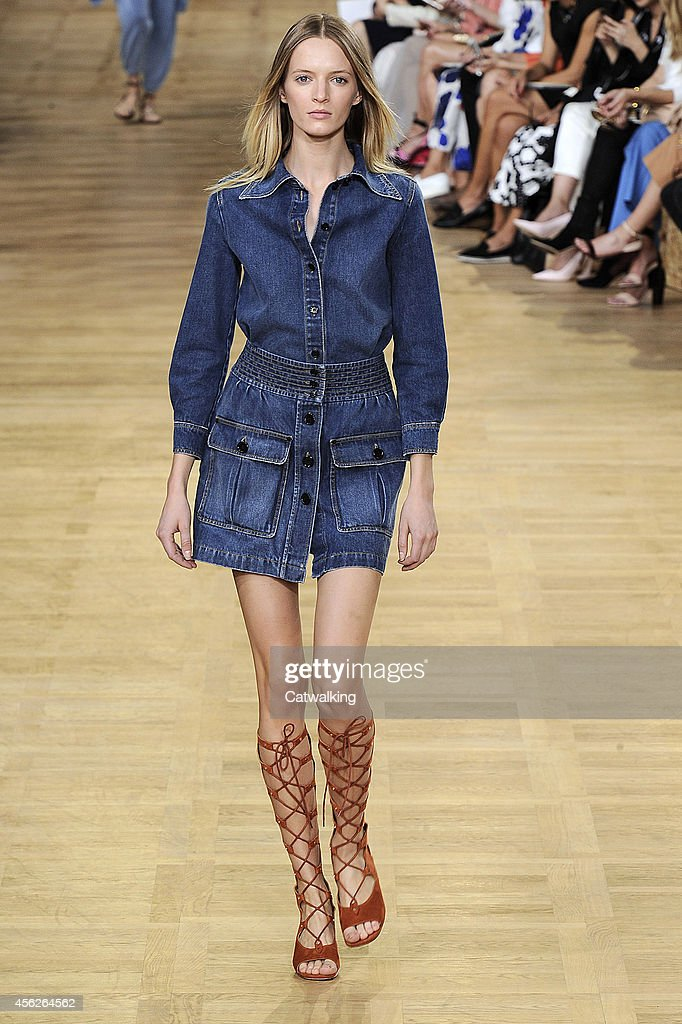 A model walks the runway at the Chloe Spring Summer 2015 fashion show during Paris Fashion Week on September 28 2014 in Paris France
