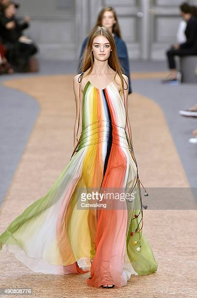 A model walks the runway at the Chloe Spring Summer 2016 fashion show during Paris Fashion Week on October 1 2015 in Paris France
