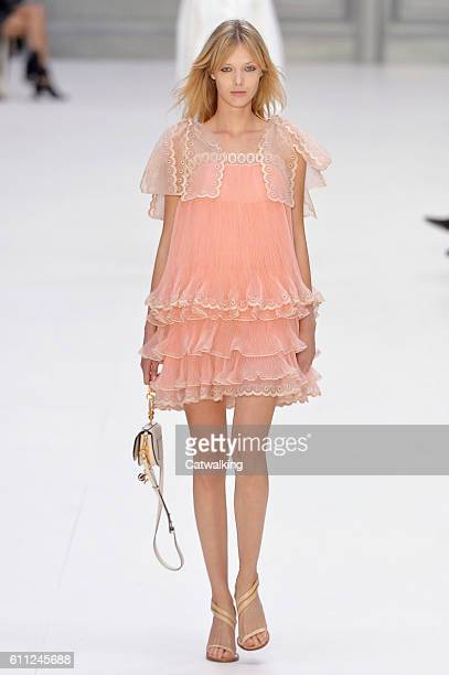 A model walks the runway at the Chloe Spring Summer 2017 fashion show during Paris Fashion Week on September 29 2016 in Paris France