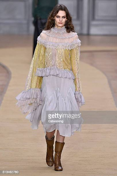 A model walks the runway at the Chloe Winter 2016 fashion show during Paris Fashion Week on March 3 2016 in Paris France