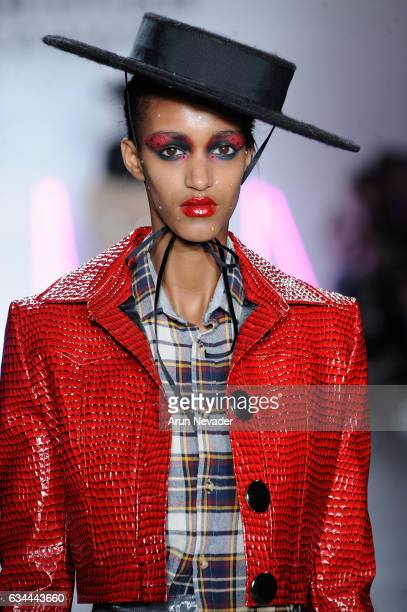 A model walks the runway at the Christian Cowan Fall/Winter 2017 Fashion Show at Pier 59 on February 9 2017 in New York City