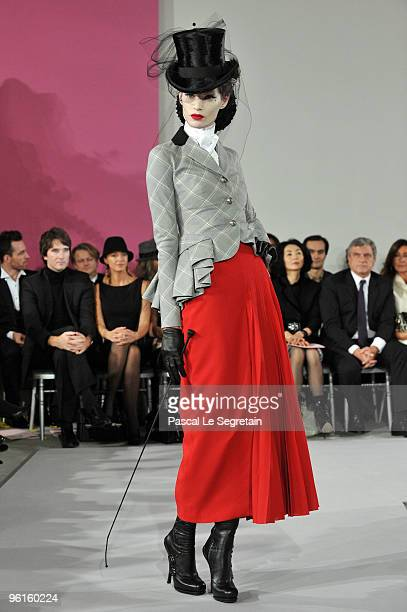 A model walks the runway at the Christian Dior HauteCouture show as part of the Paris Fashion Week Spring/Summer 2010 at Boutique Dior on January 25...