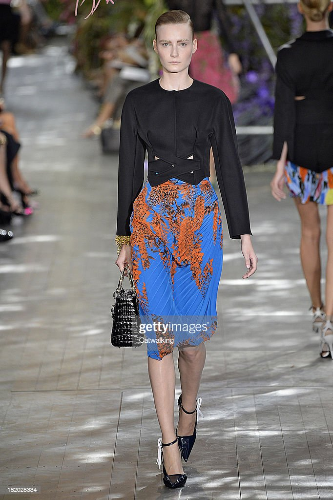 A model walks the runway at the Christian Dior Spring Summer 2014 fashion show during Paris Fashion Week on September 27, 2013 in Paris, France.