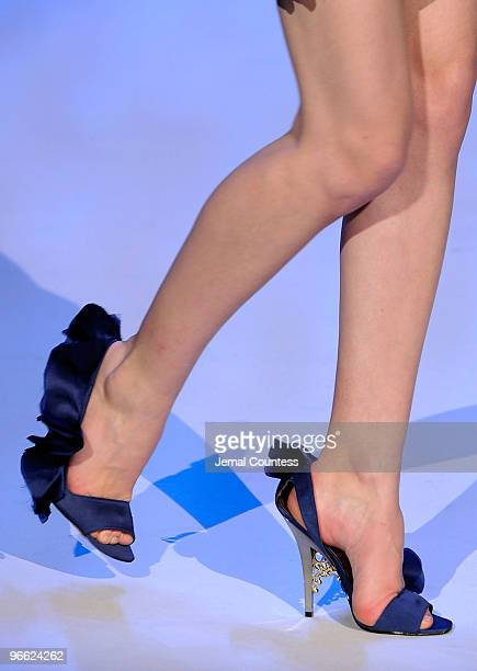 A model walks the runway at the Christian Siriano Fall 2010 Fashion Show presented by Payless during MercedesBenz Fashion Week at The Promenade at...