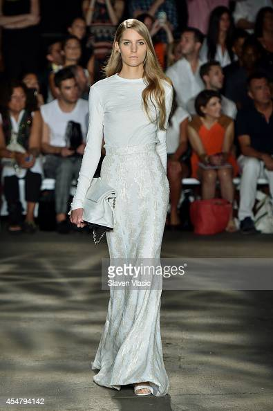 A model walks the runway at the Christian Siriano fashion show during MercedesBenz Fashion Week Spring 2015 at Eyebeam on September 6 2014 in New...