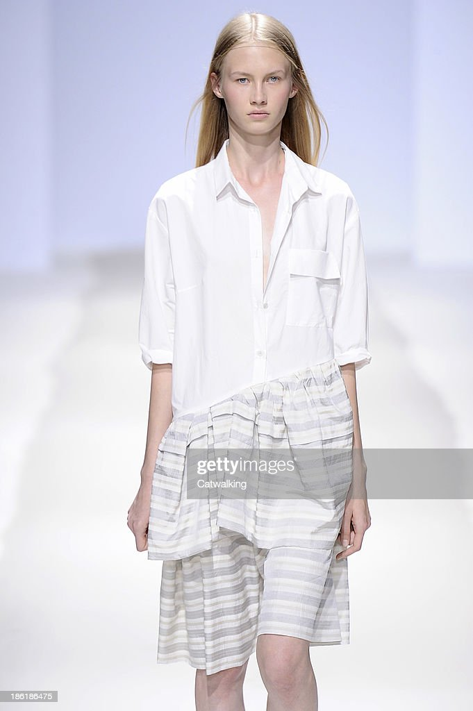A model walks the runway at the Christian Wijnants Spring Summer 2014 fashion show during Paris Fashion Week on September 26, 2013 in Paris, France.
