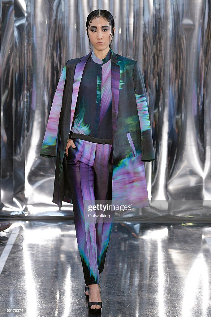 A model walks the runway at the Christine Phung Autumn Winter 2015 fashion show during Paris Fashion Week on March 3 2015 in Paris France