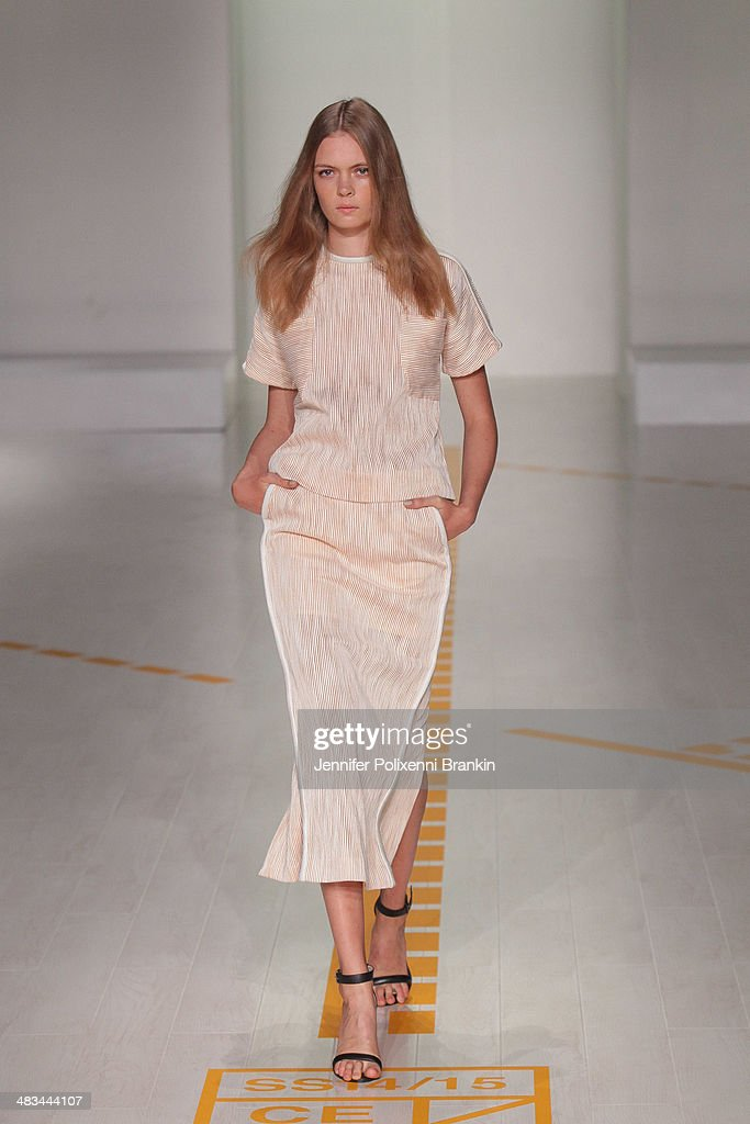 A model walks the runway at the Christopher Esber show during Mercedes-Benz Fashion Week Australia 2014 at Carriageworks on April 8, 2014 in Sydney, Australia.