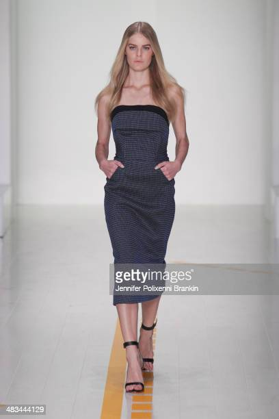 A model walks the runway at the Christopher Esber show during MercedesBenz Fashion Week Australia 2014 at Carriageworks on April 8 2014 in Sydney...