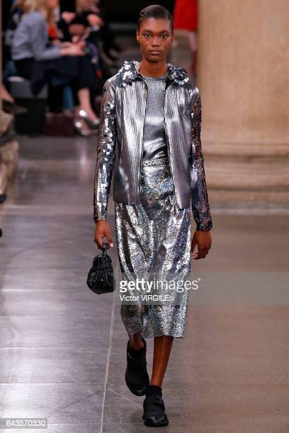 A model walks the runway at the Christopher Kane Ready to Wear Fall Winter 20172018 fashion show during the London Fashion Week February 2017...