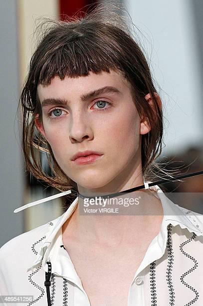 A model walks the runway at the Christopher Kane Ready to Wear show during London Fashion Week Spring/Summer 2016 on September 21 2015 in London...