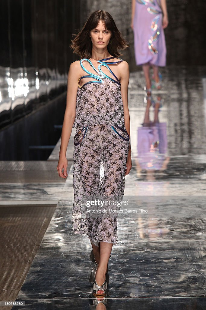 A model walks the runway at the Christopher Kane show during London Fashion Week SS14 at on September 16, 2013 in London, England.