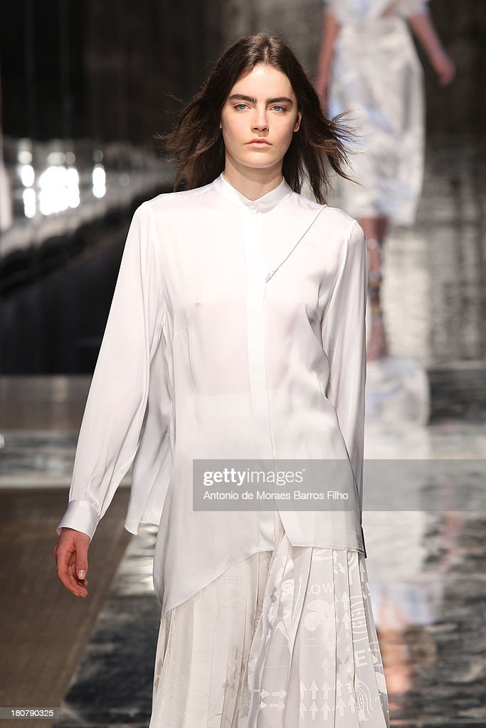 A model walks the runway at the Christopher Kane show during London Fashion Week SS14 on September 16, 2013 in London, England.