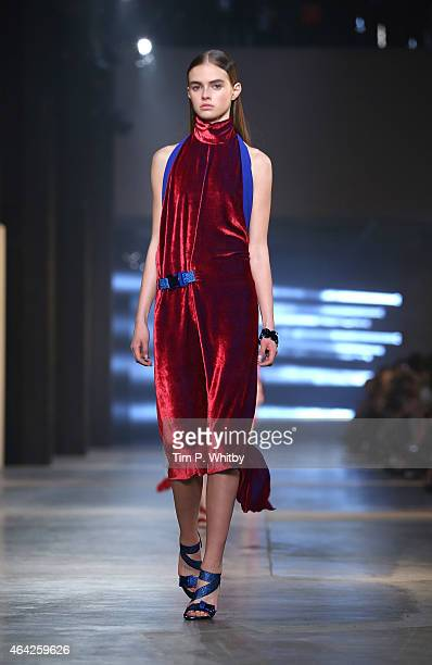 A model walks the runway at the Christopher Kane show during London Fashion Week Fall/Winter 2015/16 at Tate Modern on February 23 2015 in London...