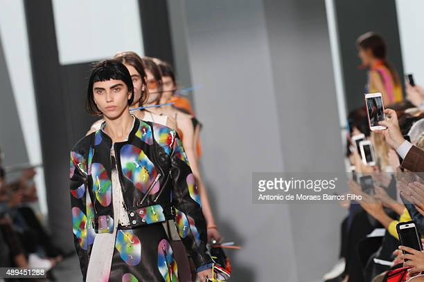 A model walks the runway at the Christopher Kane show during London Fashion Week Spring/Summer 2016/17 on September 21 2015 in London England