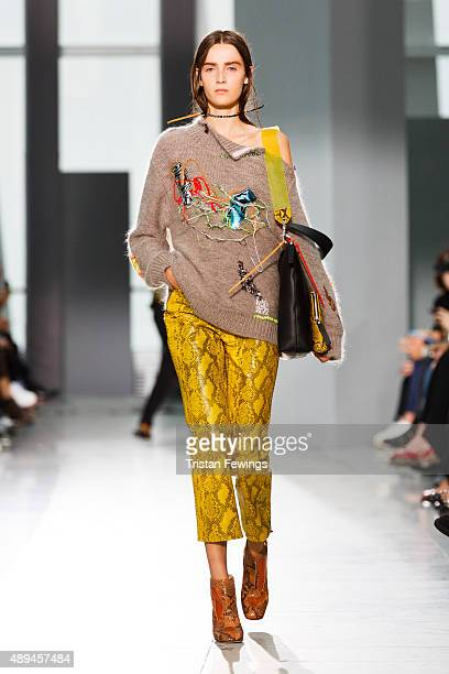 A model walks the runway at the Christopher Kane show during London Fashion Week Spring/Summer 2016 on September 21 2015 in London England