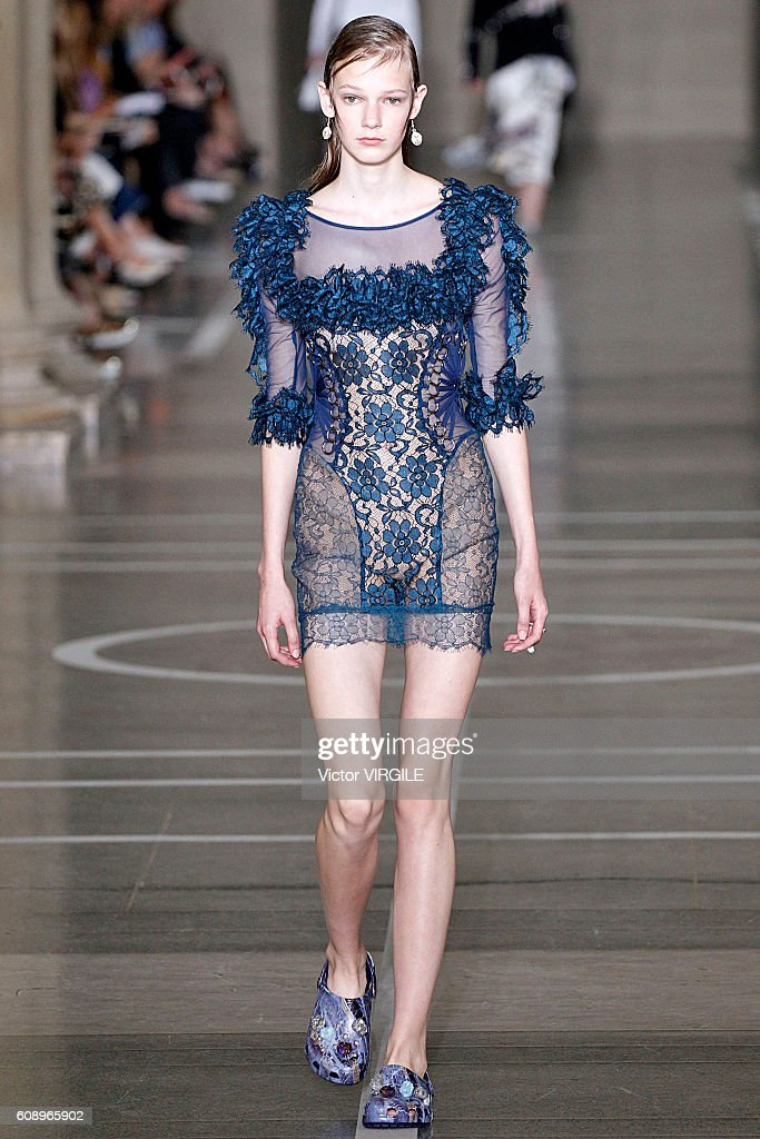 A model walks the runway at the Christopher Kane show during London Fashion Week Spring/Summer collections 2016/2017 on September 19, 2016 in London, United Kingdom.