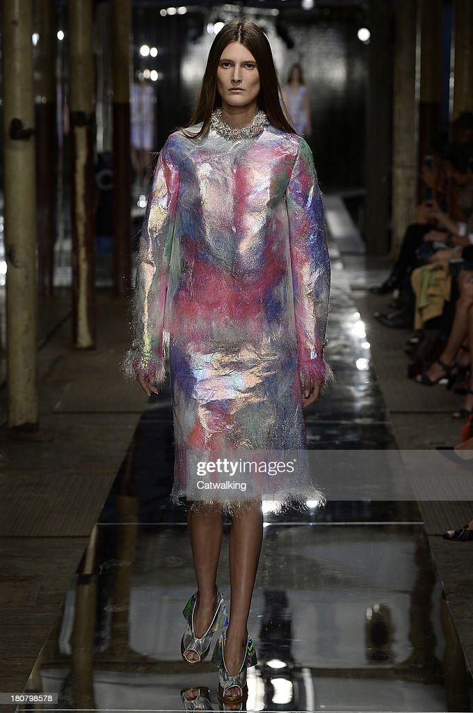 A model walks the runway at the Christopher Kane Spring Summer 2014 fashion show during London Fashion Week on September 16, 2013 in London, United Kingdom.