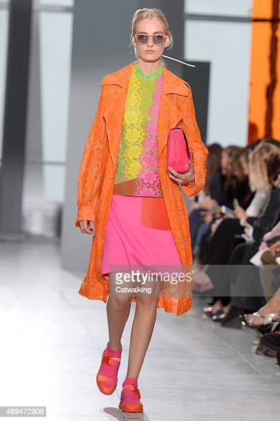 A model walks the runway at the Christopher Kane Spring Summer 2016 fashion show during London Fashion Week on September 21 2015 in London United...