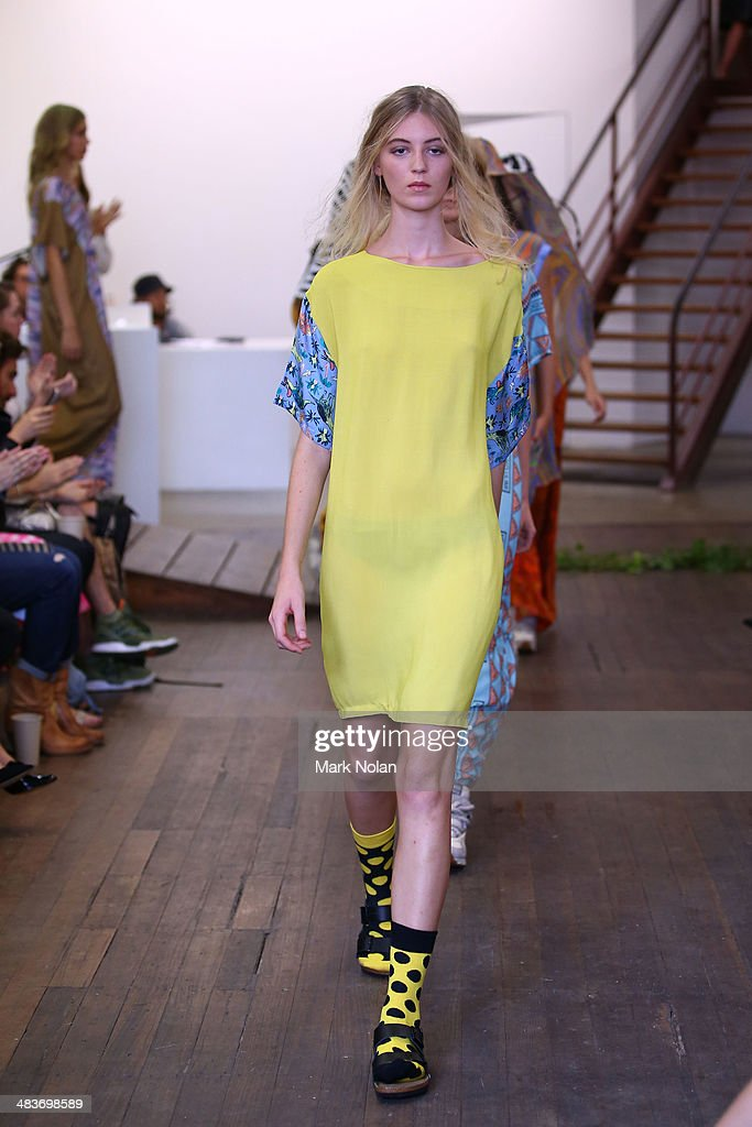 A model walks the runway at the Clean Cut Designer Showcase show during Mercedes-Benz Fashion Week Australia 2014 at The Hughes Gallery, Surry Hills on April 10, 2014 in Sydney, Australia.