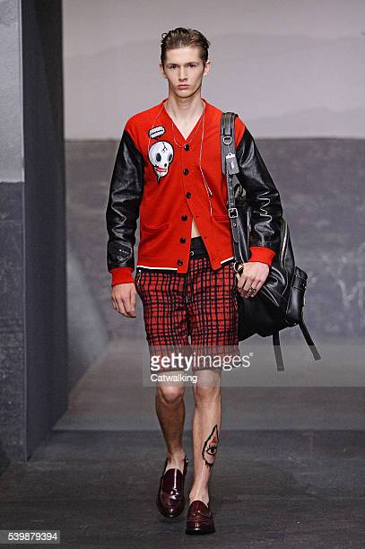 A model walks the runway at the Coach Spring Summer 2017 fashion show during London Menswear Fashion Week on June 13 2016 in London United Kingdom