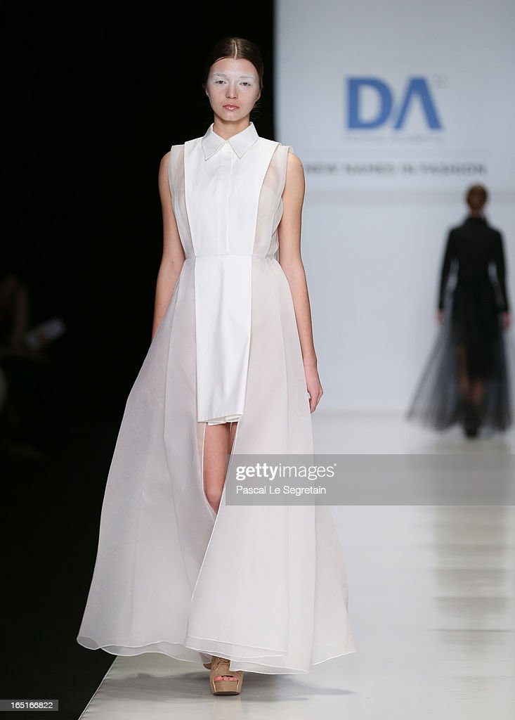A model walks the runway at the Cora Maria Bellotto (Italia) for Domus Academy Collective Show during Mercedes-Benz Fashion Week Russia Fall/Winter 2013/2014 at Manege on April 1, 2013 in Moscow, Russia.
