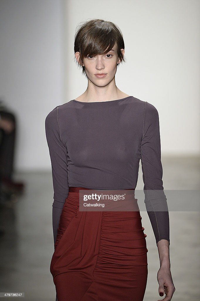A model walks the runway at the Costello Tagliapietra Autumn Winter 2014 fashion show during New York Fashion Week on February 6, 2014 in New York, United States.