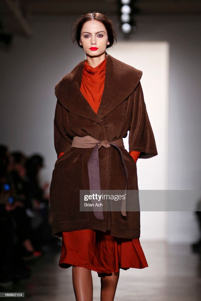 A model walks the runway at the Costello Tagliapietra fall 2013 fashion show during MADE Fashion Week at Milk Studios on February 7, 2013 in New York City.