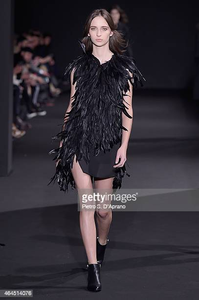 A model walks the runway at the Costume National show during the Milan Fashion Week Autumn/Winter 2015 on February 26 2015 in Milan Italy