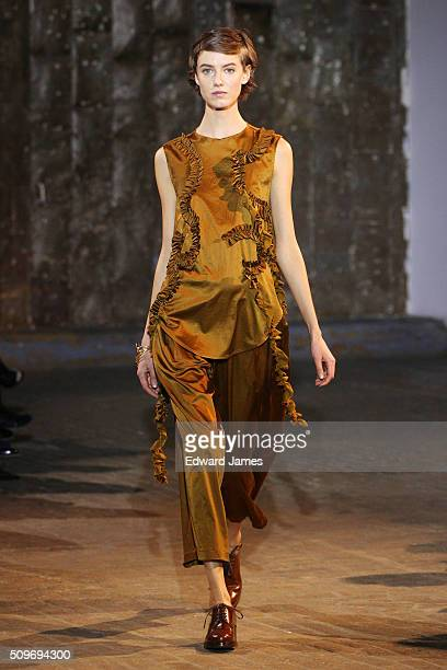 A model walks the runway at the Creatures of Comfort fashion show at 441 West 14th Street on February 11 2016 in New York City