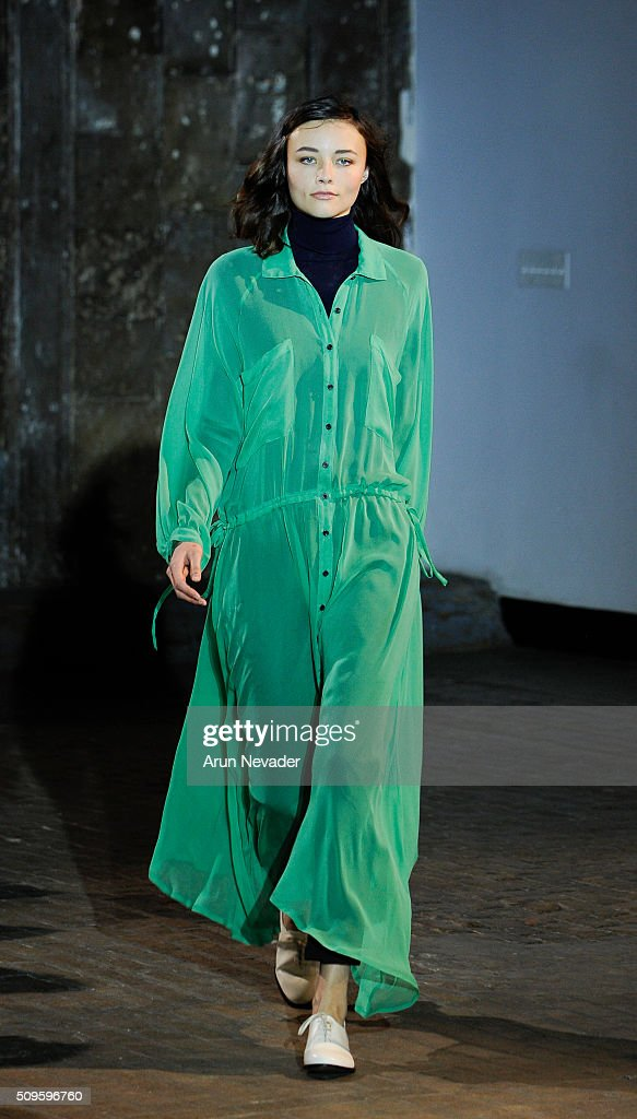 A model walks the runway at the Creatures of Comfort fashion show during Fall 2016 New York Fashion Week at The Highline on February 11, 2016 in New York City.