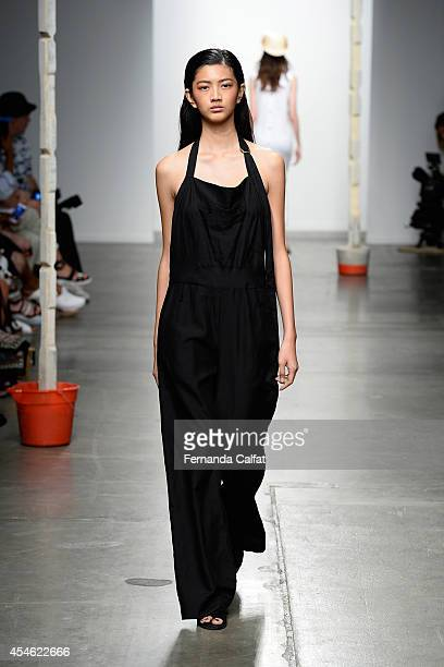 A model walks the runway at the Creatures of Comfort fashion show during MercedesBenz Fashion Week Spring 2015 at Pier 59 on September 4 2014 in New...