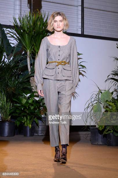 A model walks the runway at the Creatures of Comfort presentation during New York Fashion Week at Gallery 1 Skylight Clarkson Sq on February 9 2017...