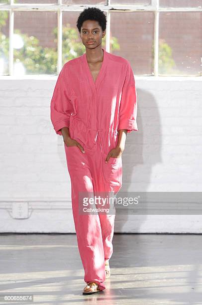 A model walks the runway at the Creatures of Comfort Spring Summer 2017 fashion show during New York Fashion Week on September 8 2016 in New York...