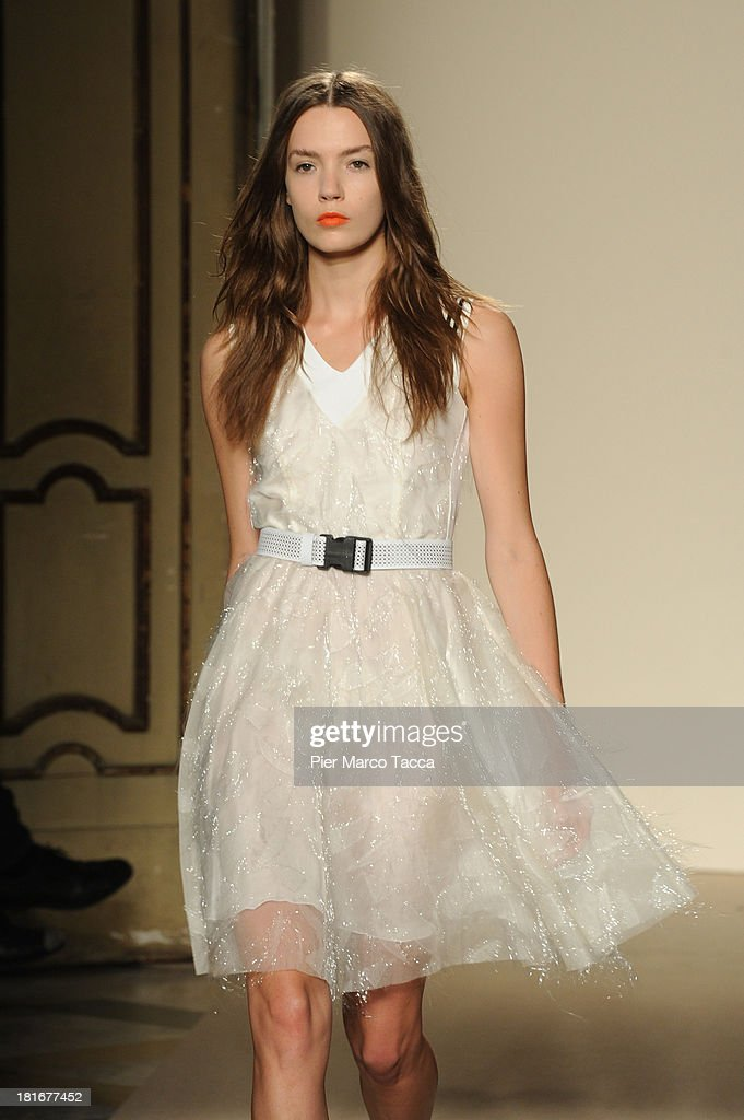 A model walks the runway at the Cristiano Burani show as a part of Milan Fashion Week Womenswear Spring/Summer 2014 at on September 23, 2013 in Milan, Italy.