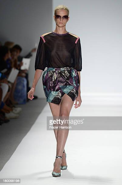 A model walks the runway at the Custo Barcelona fashion show during MercedesBenz Fashion Week Spring 2014 at The Stage at Lincoln Center on September...