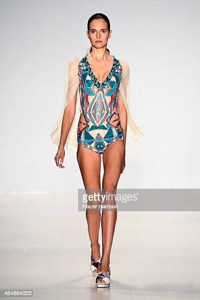 A model walks the runway at the Custo Barcelona fashion show during MercedesBenz Fashion Week Spring 2015 at The Salon at Lincoln Center on September...