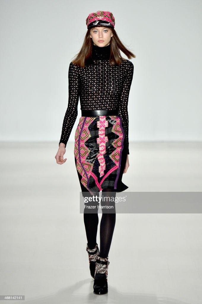 A model walks the runway at the Custo Barcelona fashion show during Mercedes-Benz Fashion Week Fall 2014 at The Salon at Lincoln Center on February 9, 2014 in New York City.