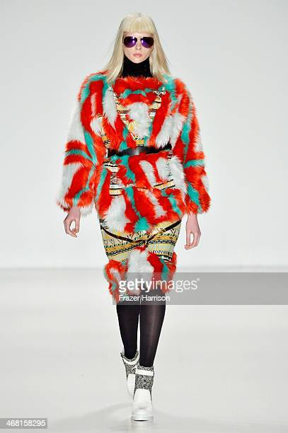 A model walks the runway at the Custo Barcelona fashion show during MercedesBenz Fashion Week Fall 2014 at Lincoln Center on February 9 2014 in New...