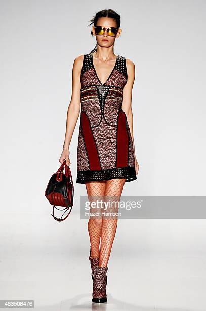 A model walks the runway at the Custo Barcelona fashion show during MercedesBenz Fashion Week Fall 2015 at The Salon at Lincoln Center on February 15...