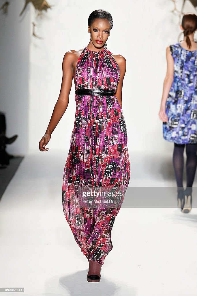 A model walks the runway at the CZAR by Cesar Galindo Fall 2013 fashion show during Mercedes-Benz Fashion Week at The Studio at Lincoln Center on February 8, 2013 in New York City.