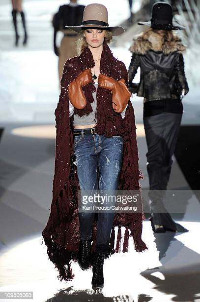 A model walks the runway at the D Squared2 fashion show during Milan Fashion Week on February 28 2011 in Milan Italy