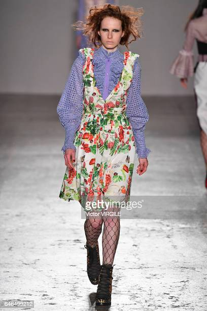 A model walks the runway at the Daizy Shely Ready to Wear fashion show during Milan Fashion Week Fall/Winter 2017/18 on February 27 2017 in Milan...