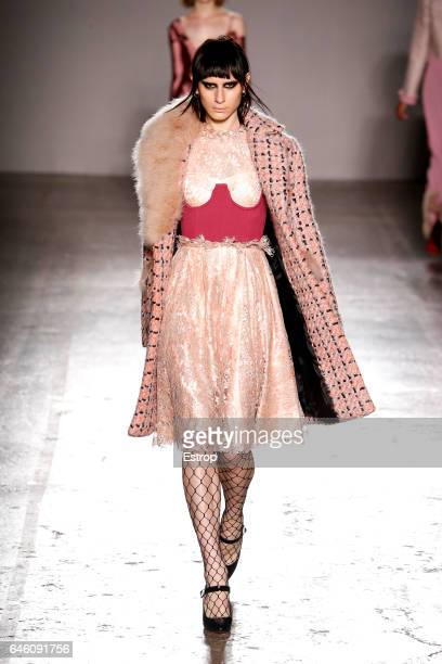 A model walks the runway at the Daizy Shely show during Milan Fashion Week Fall/Winter 2017/18 on February 27 2017 in Milan Italy