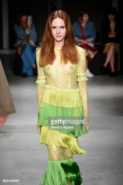 A model walks the runway at the Daizy Shely show during Milan Fashion Week Spring/Summer 2018 on September 25 2017 in Milan Italy