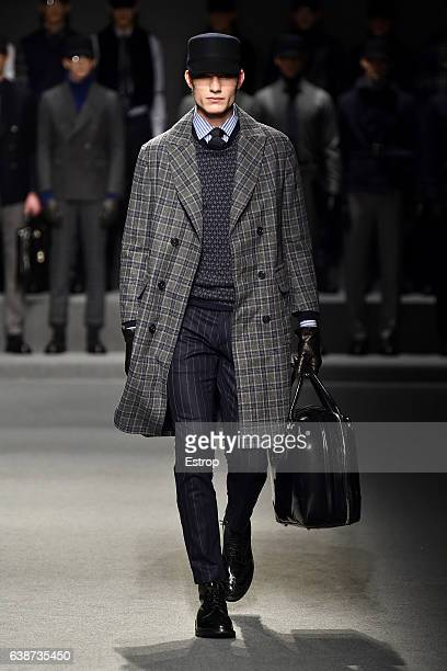 A model walks the runway at the Daks designed by Filippo Scuffi show during Milan Men's Fashion Week Fall/Winter 2017/18 on January 15 2017 in Milan...