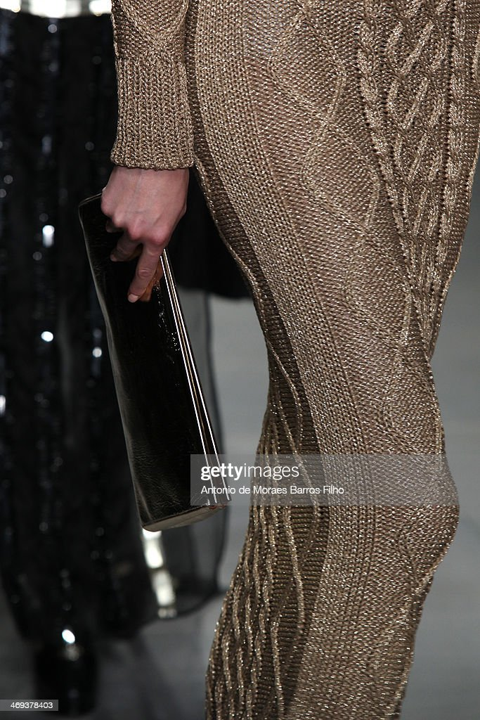 A model walks the runway (detail) at the DAKS show at London Fashion Week AW14 at Somerset House on February 14, 2014 in London, England.
